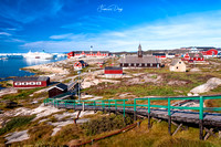"""Disko bay"", Greenland, Ilulissat, Inuit, Jakobshavn, architecture, arctic, blue, boat, building, church, coast, frost, grass, house, ice, iceberg, landscape, red, sea, settlement, ship, village"