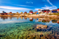 architecture, arctic, bay, blue, buildings, clear, colorful, colors, greenland, houses, isolated, nature, nordic, outdoors, peaceful, picturesque, reflection, rodebay, settlement, sky, sparse, village
