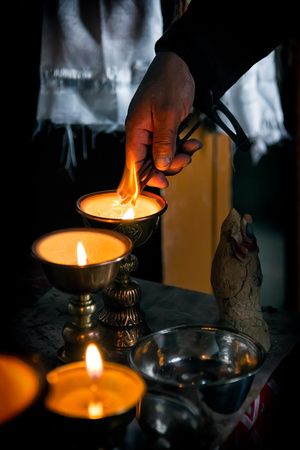 Preparations for morning prayer in Korzok monastery Ladak India buddhism