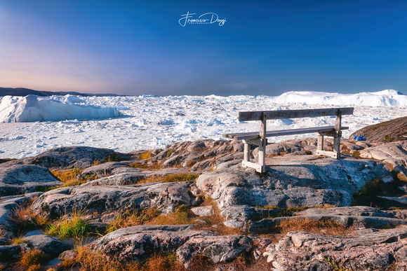 The Bench with a View in Ilulissat icefjord iceberg landscape ice iceberg pole greenland