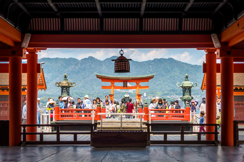 Pilgrims visiting Itsukushima Shrine Miyajima Japan