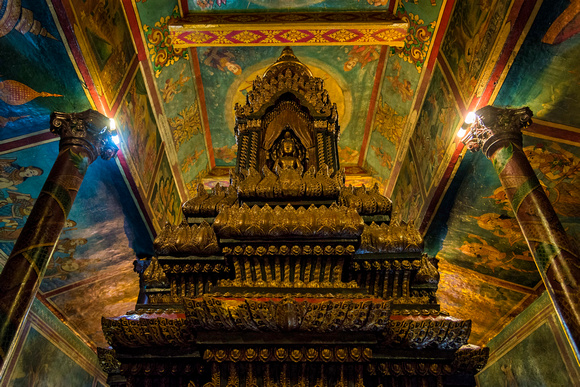 Inside the Wat Phnom temple buddhism Cambodia