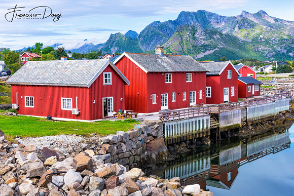 Rorbuer in Kabelvåg village Lofoten Islands Norway landscape