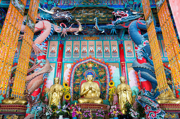 Yuantong temple main hall buddhist cina kunming yunnan dragons hall buddhism buddha
