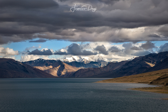 Stormy sky over Tso Moriri lake landscape Ladakh India