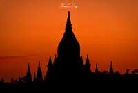 Sunrise over Bagan temple Myanmar Burma sunset