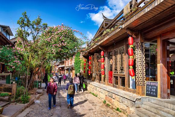 In the street of Shuhe Naxi ancient village China traditional Yunnan lantern