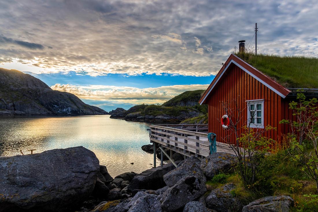 Sunrise time in Nusfjord Lofoten Norway