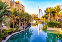 View of Burj Al Arab from Madinat Jumeirah Dubai UAE