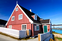 "architecture, arctic, blue, building, colorful, cottage, ""disko bay"", greenland, house, ilulissat, inuit, jakobshavn, kredsretten, ""north pole"", red, settlement, sky, summer, village, window, wooden"