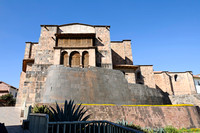 Cusco - The Coricancha temple, with Cathedral of Santo Domingo above