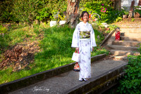Japanese girl with traditional Kimono at Philosopher's Walk in Kyoto japan