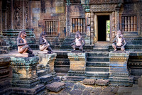 Monkey guardians at Prasat Banteay Srei angkor cambodia temple