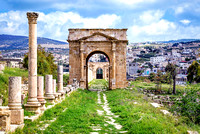 The north Tetrapylon in Jerash Jordan monument ruins