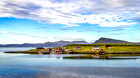 Small fishing village in Magroya island Norway landscape