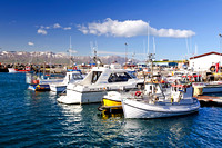"august, blue, boat, boats, clear, clouds, day, dock, exterior, fishing, ""fishing boat"", fjord, harbor, harbour, husavik, iceland, icelandic, island, islanda, landscape, marina, marine, morning"