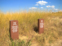 Indians combatants marker stones on the battlefield.