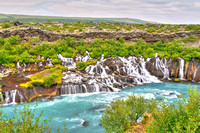 beautiful, beauty, big, wide, cascade, cascades, cliff, color, colorful, energy, environment, fall, falling, falls, flow, flowing, foss, geology, glacial, grass, green, hraunfossar, iceland, icelandic
