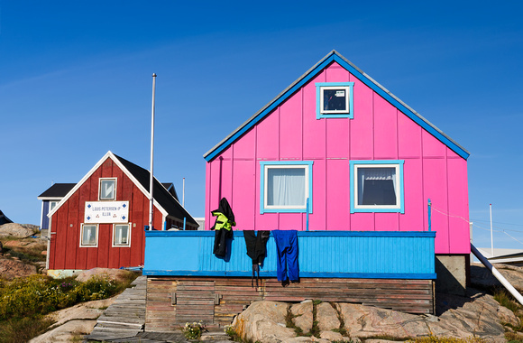 The pink house of Ilulissat greenland settlemente home town