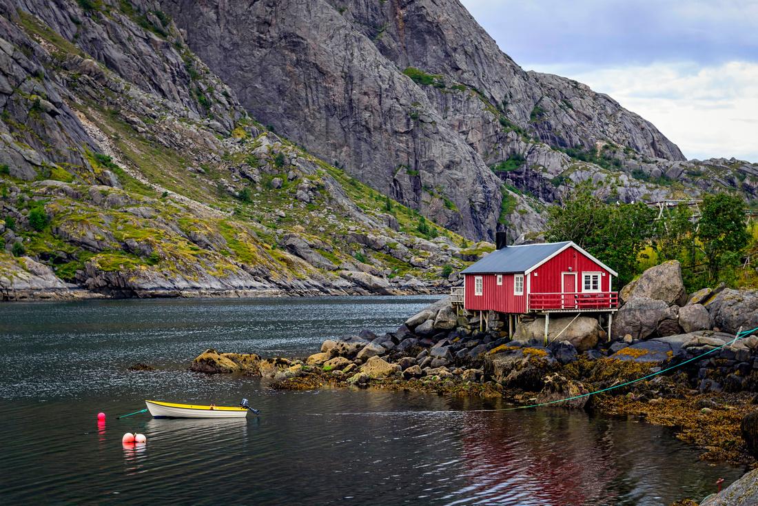 Rorbu in Nusfjord lofoten norway landscape