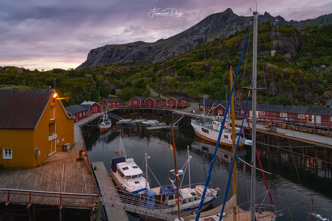 The Nusfjord harbor Lofoten village landscape