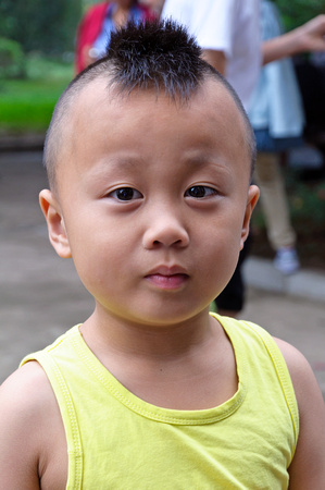 Young Boy With Funny Mohawk Hairstyle