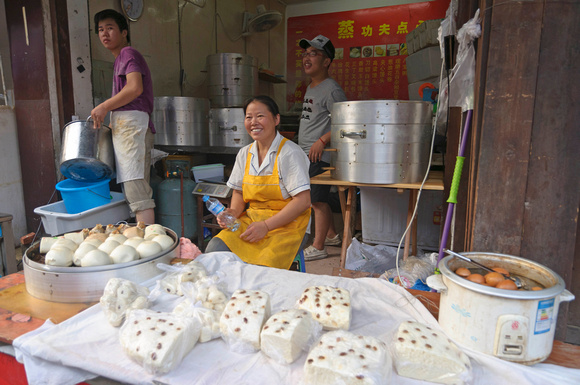 Mantou vendor in Suzhou market