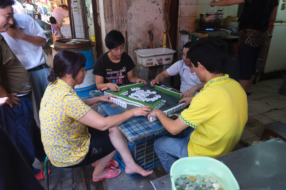 Mahjong players in Suzhou market