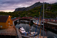 The Nusfjord harbor Lofoten village landscape