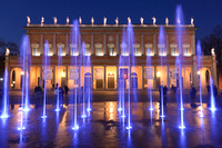 The theater fountain at night