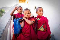 Novice monks in Diskit monastery school boys kids Ladakh India