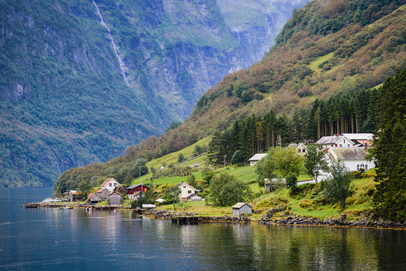 Bakka village in Naeroyfjord Norway landscape
