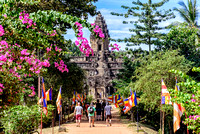Tourists approaching Bakong Temple Cambodia Angkor