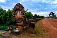 Naga statue on Preah Tis Bridge Cambodia