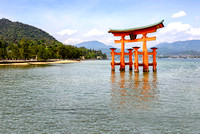 The floating torii gate of Itsukushima Shrine Miyajima japan red