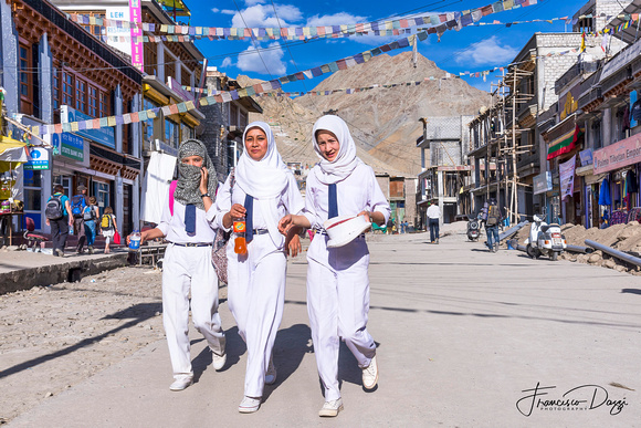 In the street of Leh Ladakk girsl people