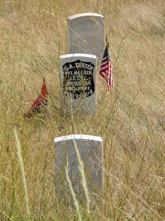 Custer marker stone on the battlefield